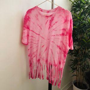 Custom tie dye fringe top Pink spiral women's OS